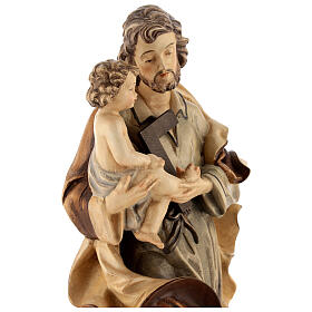 Heiliger Josef mit Kind Grödnertal Holz braunfarbig s6