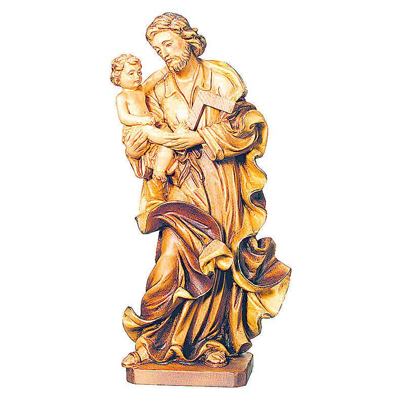 Imagen San José con Niño de madera, acabado con diferentes matices de marrón 4