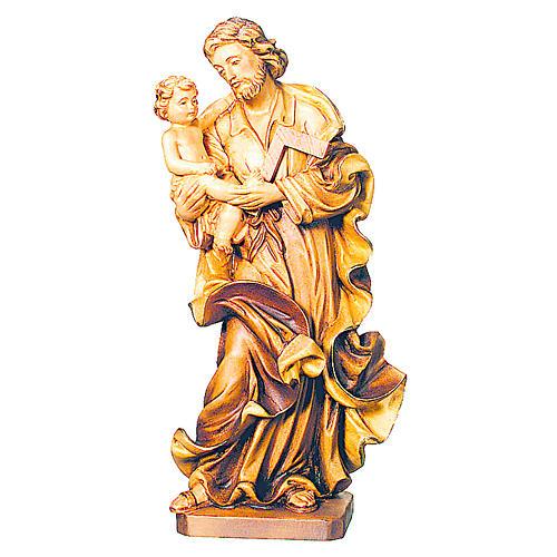 Imagen San José con Niño de madera, acabado con diferentes matices de marrón 1