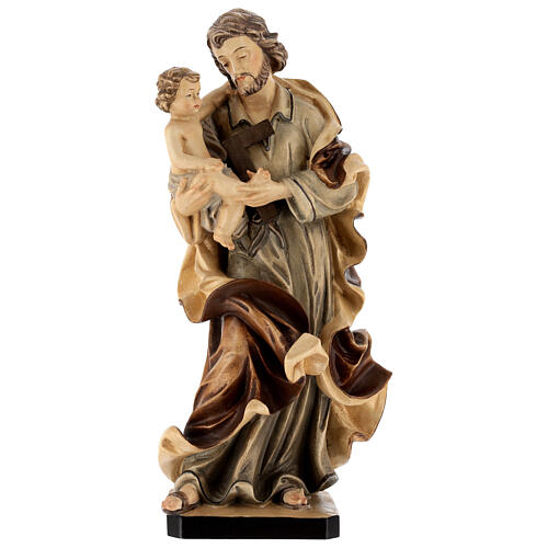 Imagen San José con Niño de madera, acabado con diferentes matices de marrón