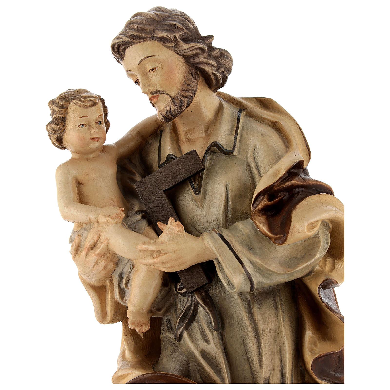 San Giuseppe con Bambino legno diverse tonalità di marrone 4