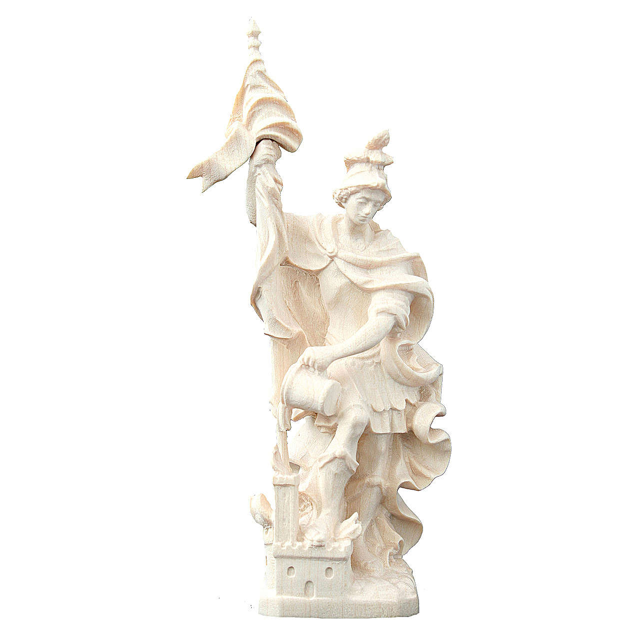 Saint Florian with baby statue in natural wood 4