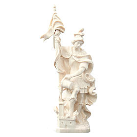 Saint Florian with baby statue in natural wood s1