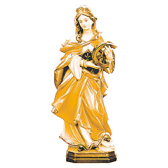 Statua Santa Caterina legno colorato con colori marroni 4