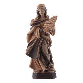 Imágenes de madera natural: Estatua Santa Cecilia de madera, acabado con diferentes matices de marrón