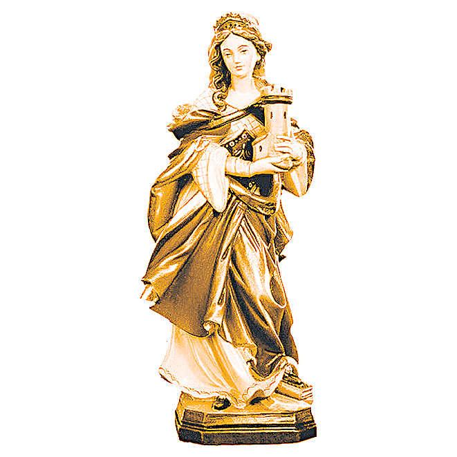 Statua Santa Barbara con varie tonalità di marrone in legno 4