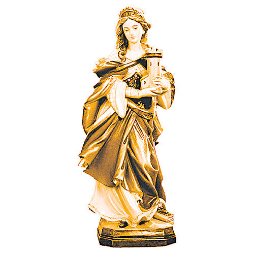 Statua Santa Barbara con varie tonalità di marrone in legno 1