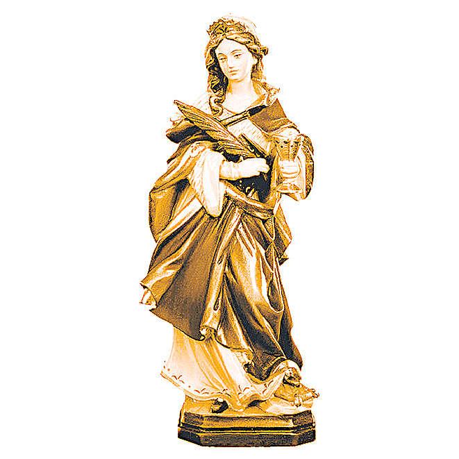 Statua di Santa Ottilia in legno con marrone scuro e chiaro 4