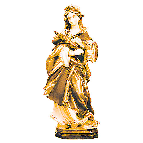 Statua di Santa Ottilia in legno con marrone scuro e chiaro 1