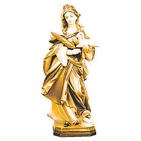 Imágenes de madera natural: Estatua Santa Inés de madera con rama y cordero