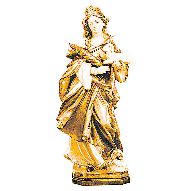 Saint Agnes wooden statue with lamb and branch 4
