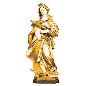Imágenes de madera natural: Estatua Santa Dorotea de madera, acabado con diferentes matices de marrón