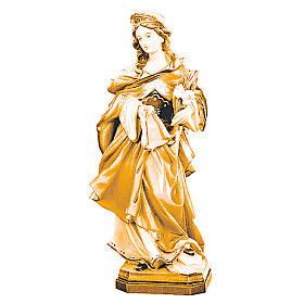 Imágenes de madera natural: Estatua Santa Verónica de madera, acabado con diferentes matices de marrón