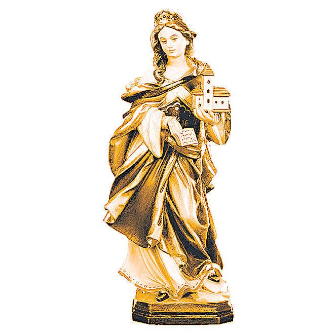 Statue Sainte Edwige bois coloré différentes tonalités de marron 4