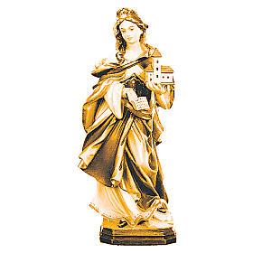 Statue Sainte Edwige bois coloré différentes tonalités de marron s1