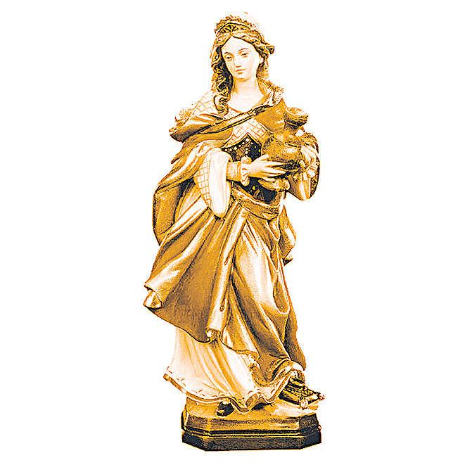 Santa Maddalena in legno colorato tonalità differenti marroni 4