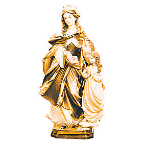 Imágenes de madera natural: Estatua Santa Ana con niña de madera, acabado con diferentes matices de marrón