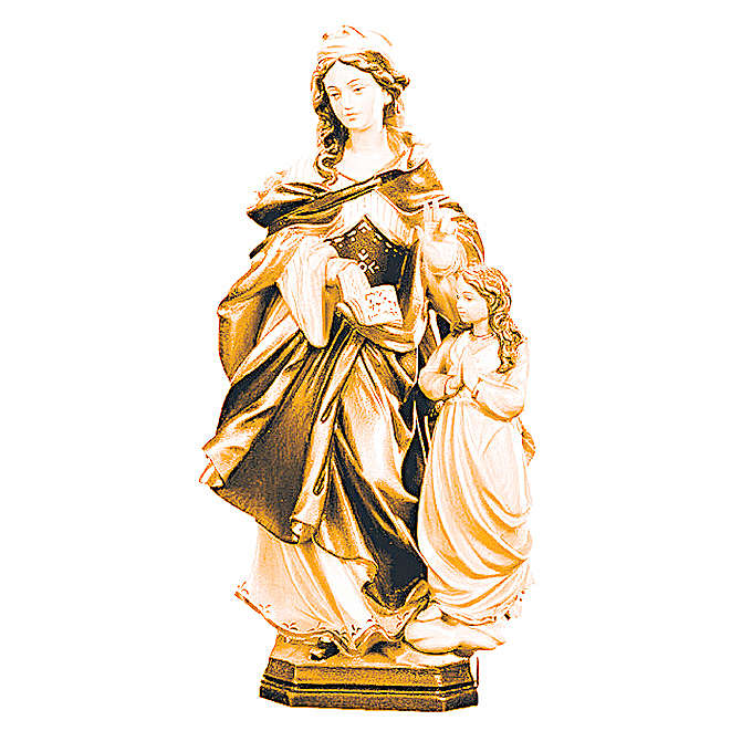 Statua Santa Anna con bimba in legno di diversi marroni 4