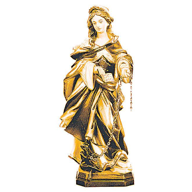 Santa Giuliana con catena in legno sfumature marroni 4