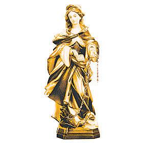 Santa Giuliana con catena in legno sfumature marroni s1