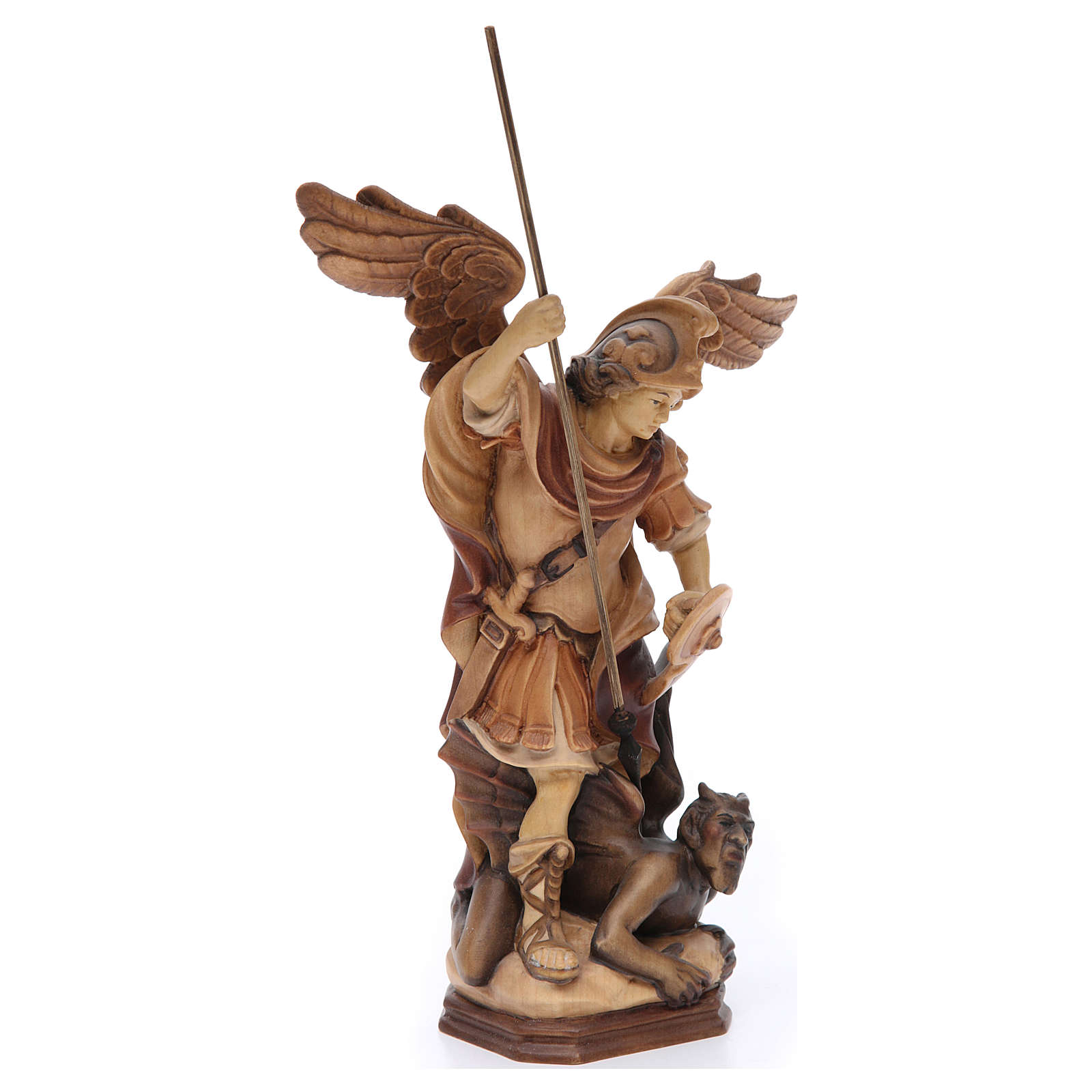 Saint Michael Archangel statue in brown painted Val Gardena wood 4