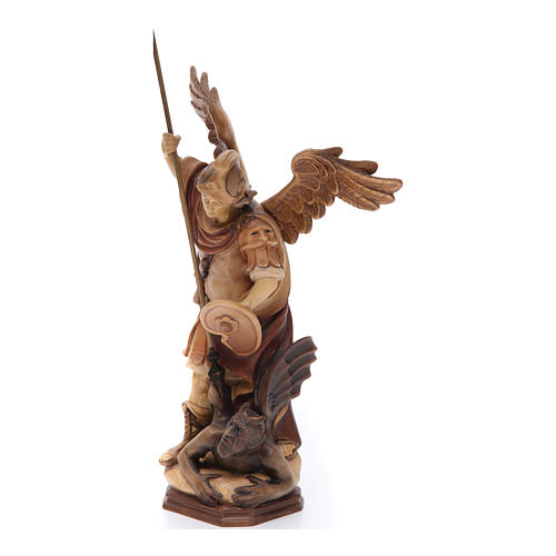Saint Michael Archangel statue in brown painted Val Gardena wood 2