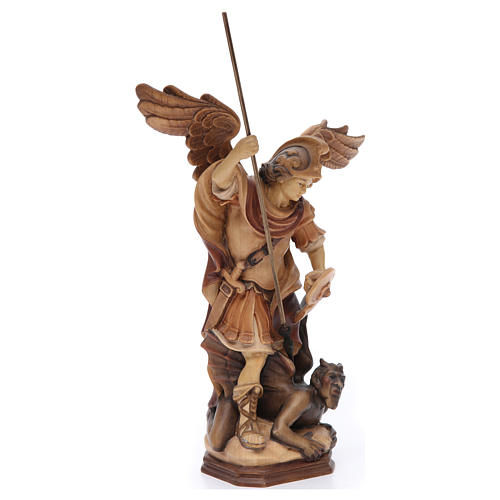 Saint Michael Archangel statue in brown painted Val Gardena wood 3