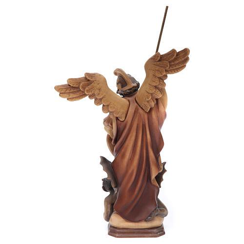 Statua San Michele Arcangelo legno dipinto marrone Val Gardena 4