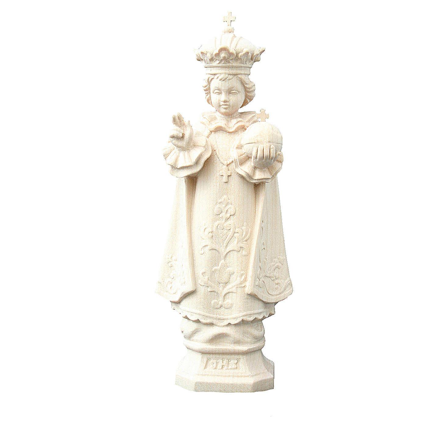 Statue Enfant Jésus de Prague bois naturel Valgardena 4