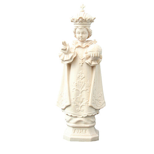Statue Enfant Jésus de Prague bois naturel Valgardena 1