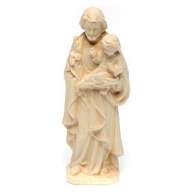 Heiliger Josef mit Jesuskind Grödnertal Holz Naturfinish s1