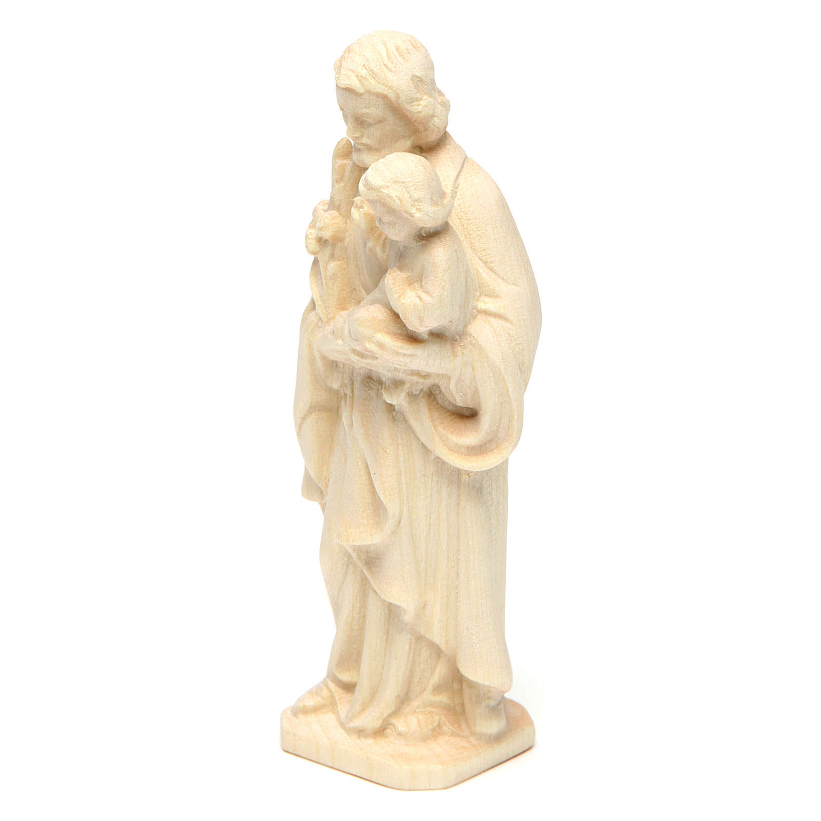 San Giuseppe con Bambino in legno naturale Val Gardena 4