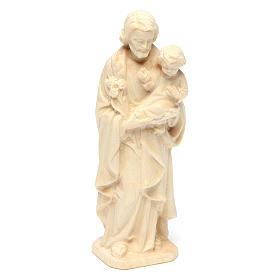 San Giuseppe con Bambino in legno naturale Val Gardena s3