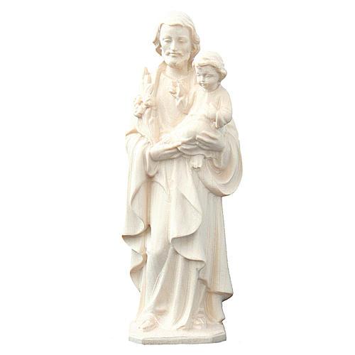 San Giuseppe con Bambino in legno naturale Val Gardena 1