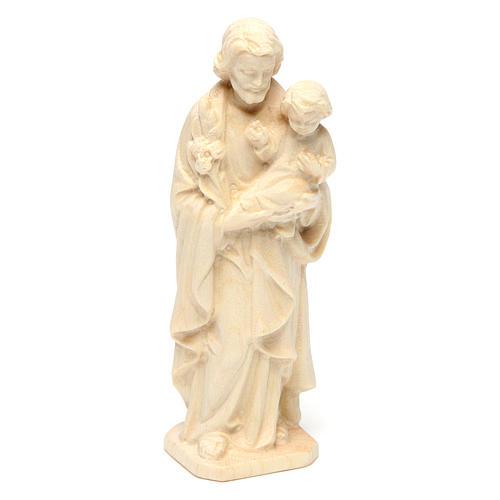 San Giuseppe con Bambino in legno naturale Val Gardena 3