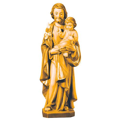 Statua San Giuseppe e Bambino legno vari marroni Val Gardena 1