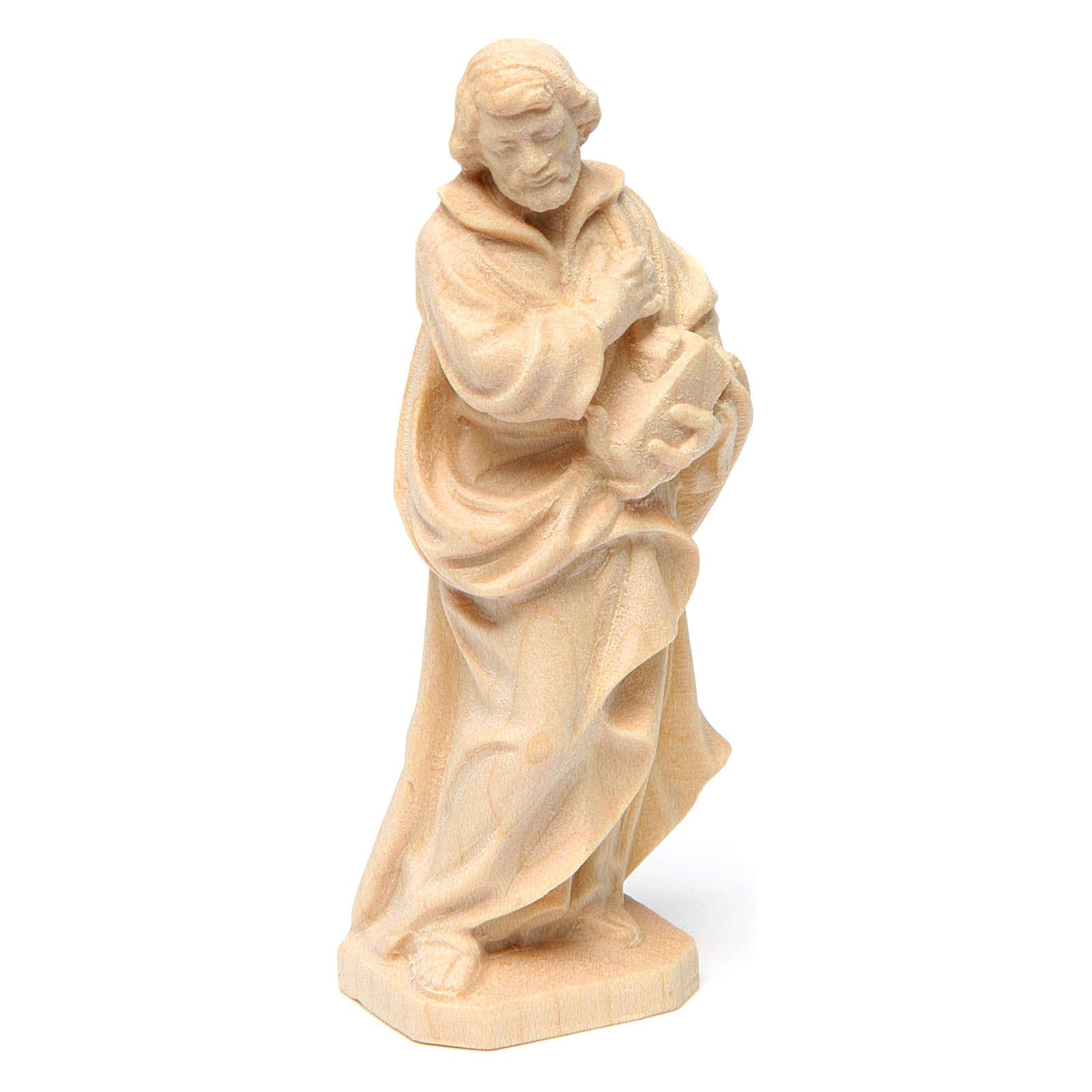 Statua San Giuseppe lavoratore in legno naturale Val Gardena 4