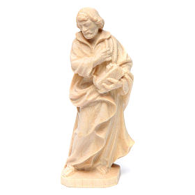 Statua San Giuseppe lavoratore in legno naturale Val Gardena s1