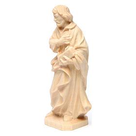 Statua San Giuseppe lavoratore in legno naturale Val Gardena s2
