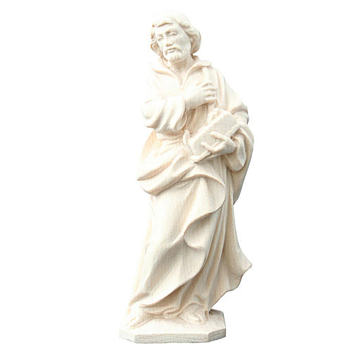Statua San Giuseppe lavoratore in legno naturale Val Gardena 1
