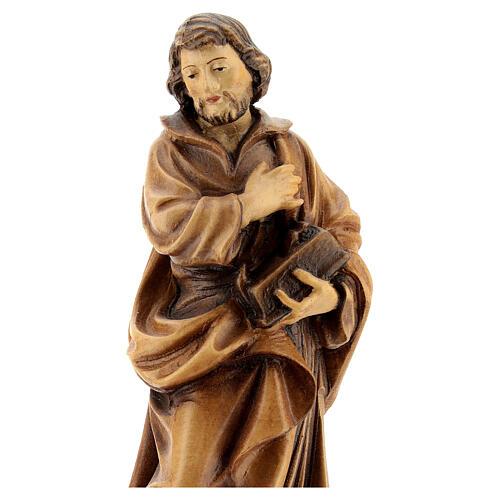 San  José trabajador con mano sobre el pecho de madera de la Val Gardena, acabado con matices de marrón