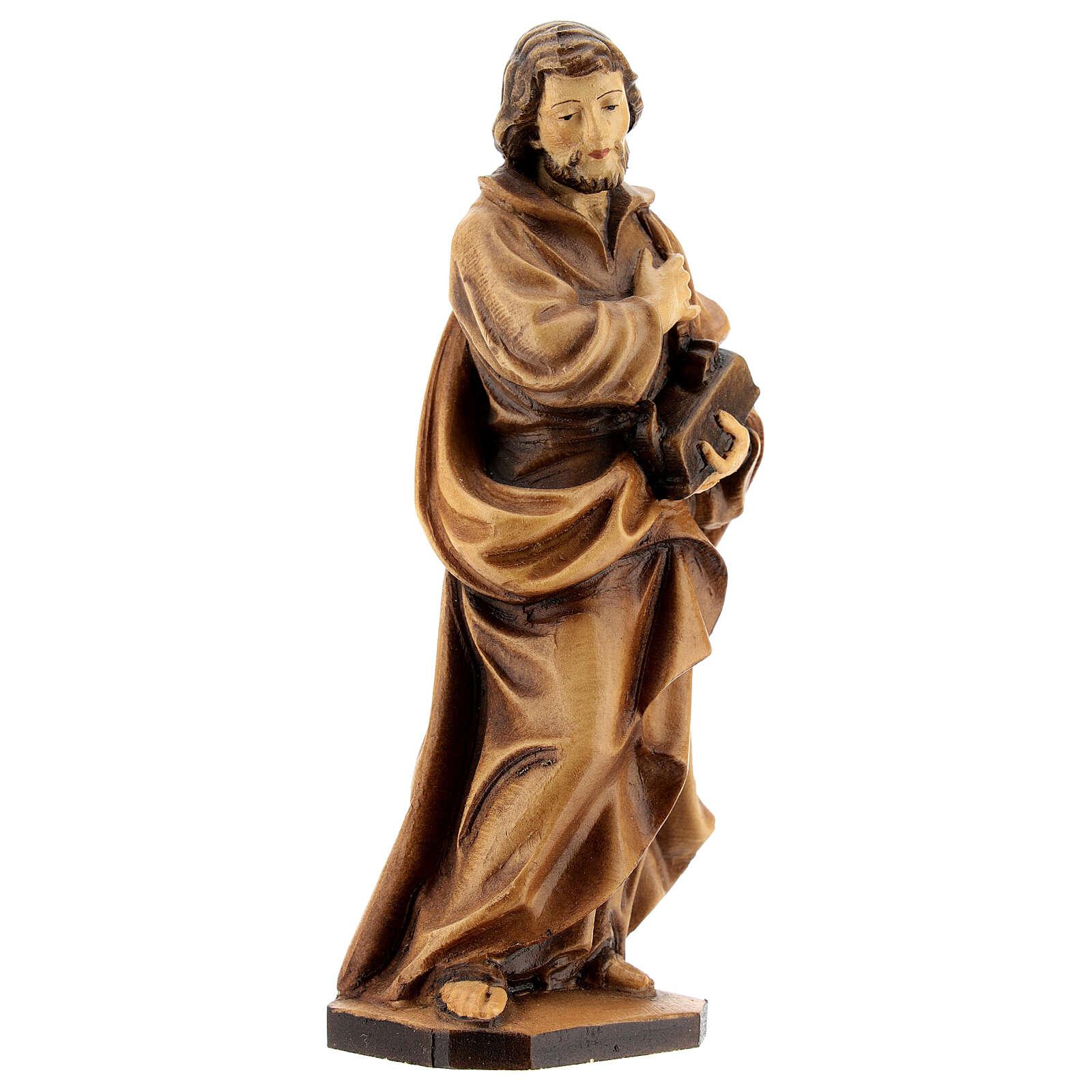 Saint Joseph ouvrier main sur la poitrine bois Valgardena 4