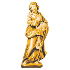 San Giuseppe lavoratore mano sul petto legno Val Gardena s1
