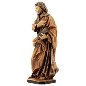 San Giuseppe lavoratore mano sul petto legno Val Gardena s3