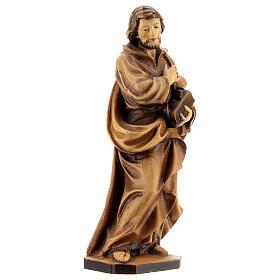 San Giuseppe lavoratore mano sul petto legno Val Gardena s4