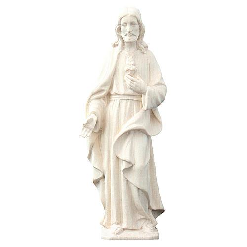 Estatua Sagrado Corazón de Jesús de madera natural de la Val Gardena 1