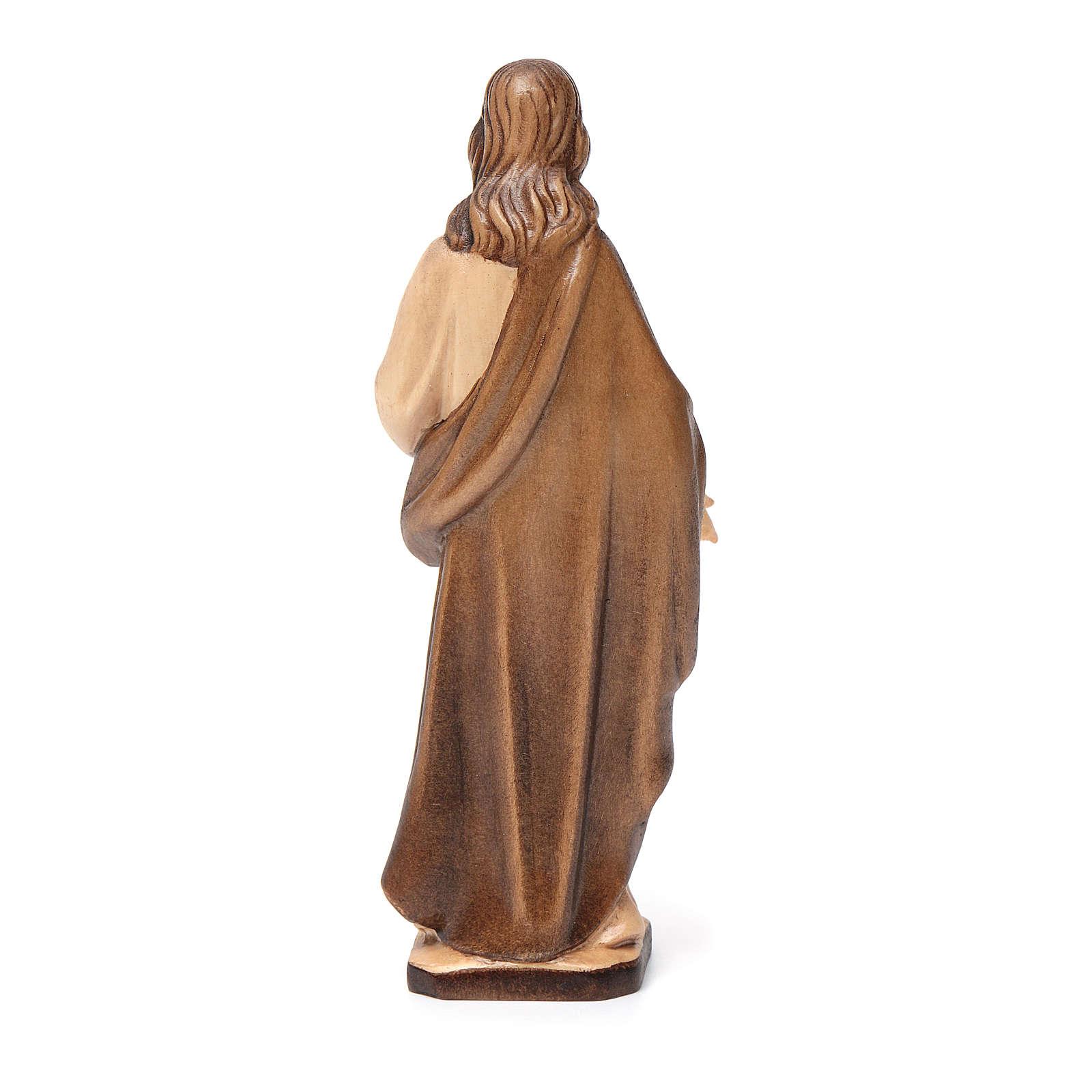 Sagrado Corazón de Jesús de madera, acabado con diferentes matices de marrón 4