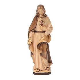 Sacro Cuore di Gesù in legno Val Gardena tonalità marrone s1