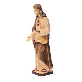 Sacro Cuore di Gesù in legno Val Gardena tonalità marrone s2