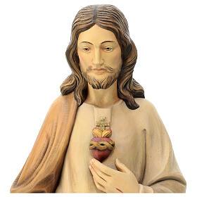 Sacro Cuore di Gesù in legno Val Gardena tonalità marrone